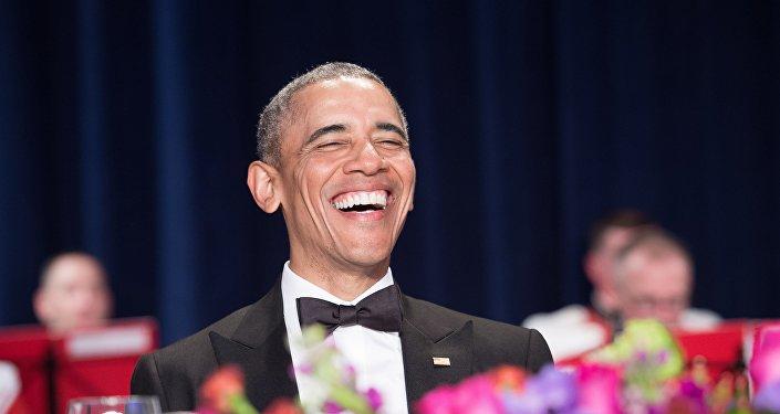El presidente estadounidense Barack Obama durante la cena de Corresponsales de la Casa Blanca.