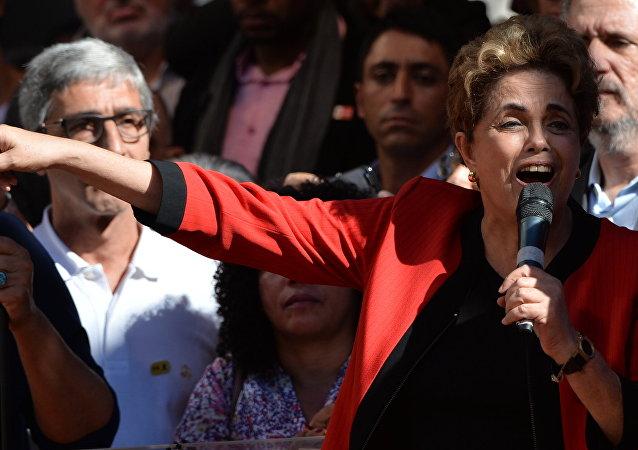 Dilma Rousseff, presidenta de Brasil, durante el discurso del Día del Trabajador el 1 de mayo en Sao Paulo