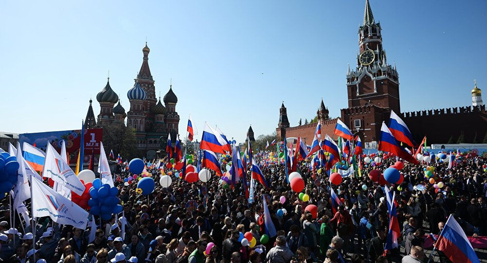 La manifestación del Primero de mayo en la Plaza Roja de Moscú