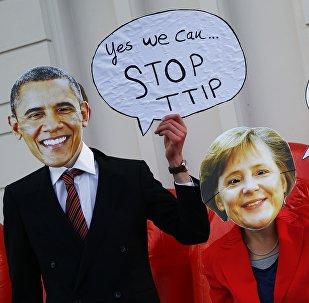 Una protesta contra TTIP en Hanover, Alemania