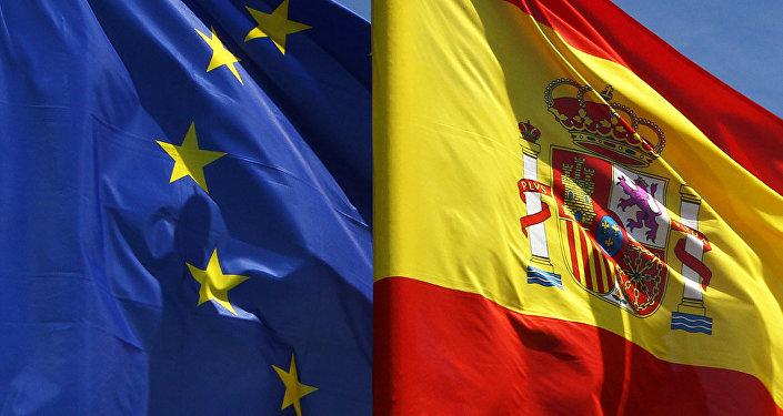 Banderas de la Unión Europea y de España