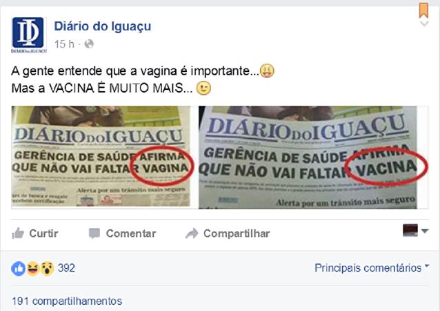 El diario de Iguazú publica un error en la portada