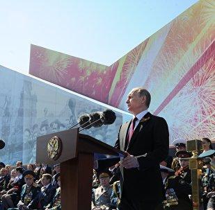 Presidente de Rusia, Vladímir Putin, durante el discurso del Desfile militar dedicado al 71 aniversario de la Victoria en la Gran Guerra Patria