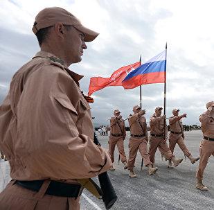 Los militares rusos en la bases siria de Hmeymim