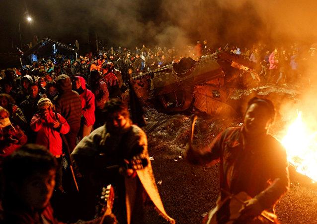 Protesta de pescadores en Chile