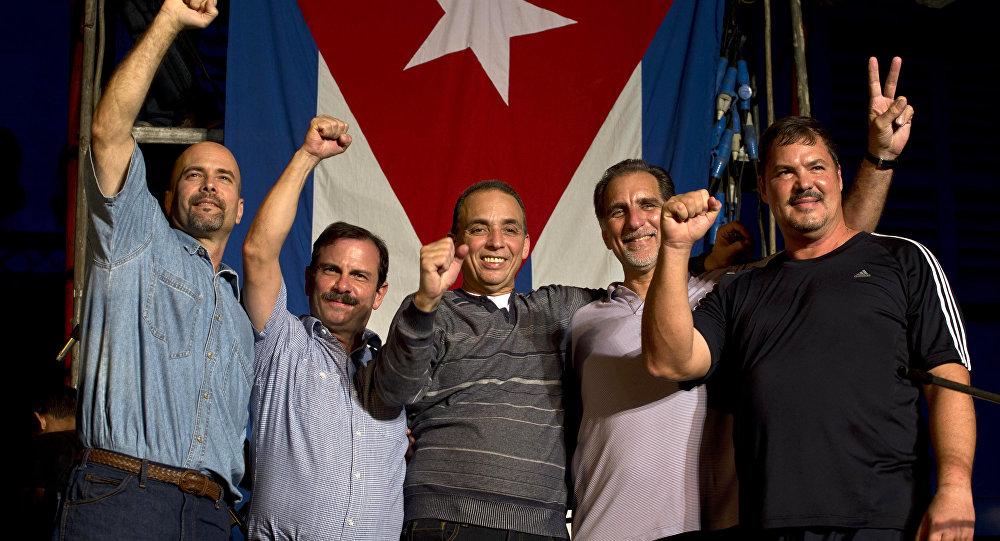 Los Cinco Héroes cubanos (desde izda.): Gerardo Hernández, Fernando González, Antonio Guerrero, René González y Ramón Labañino(archivo)