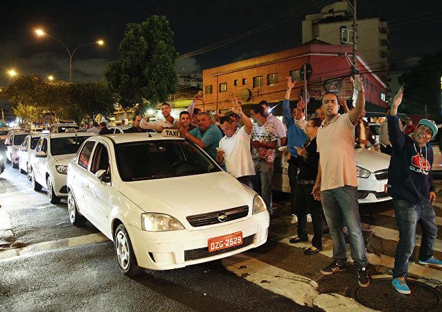 Protestas contra Uber en Sao Paulo