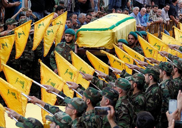 Funeral de Mustafa Amine Badreddine, uno de los principales líderes militares del movimiento chií libanés Hizbulá