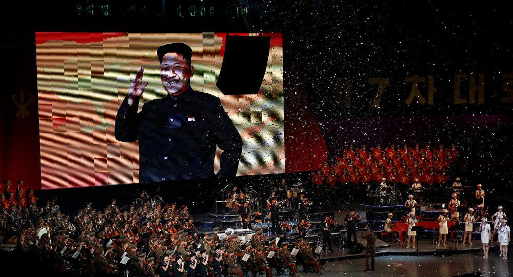 Una imagen de Kim Jong-un sobre una pantalla durante las celebraciones que marcan el fin del VII Congreso del Partido del Trabajo de Corea (Archivo)