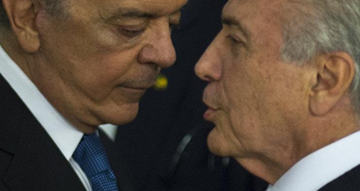 José Serra, nuevo ministro de Relaciones Exteriores de Brasil, y Michel Temer, presidente interino de Brasil