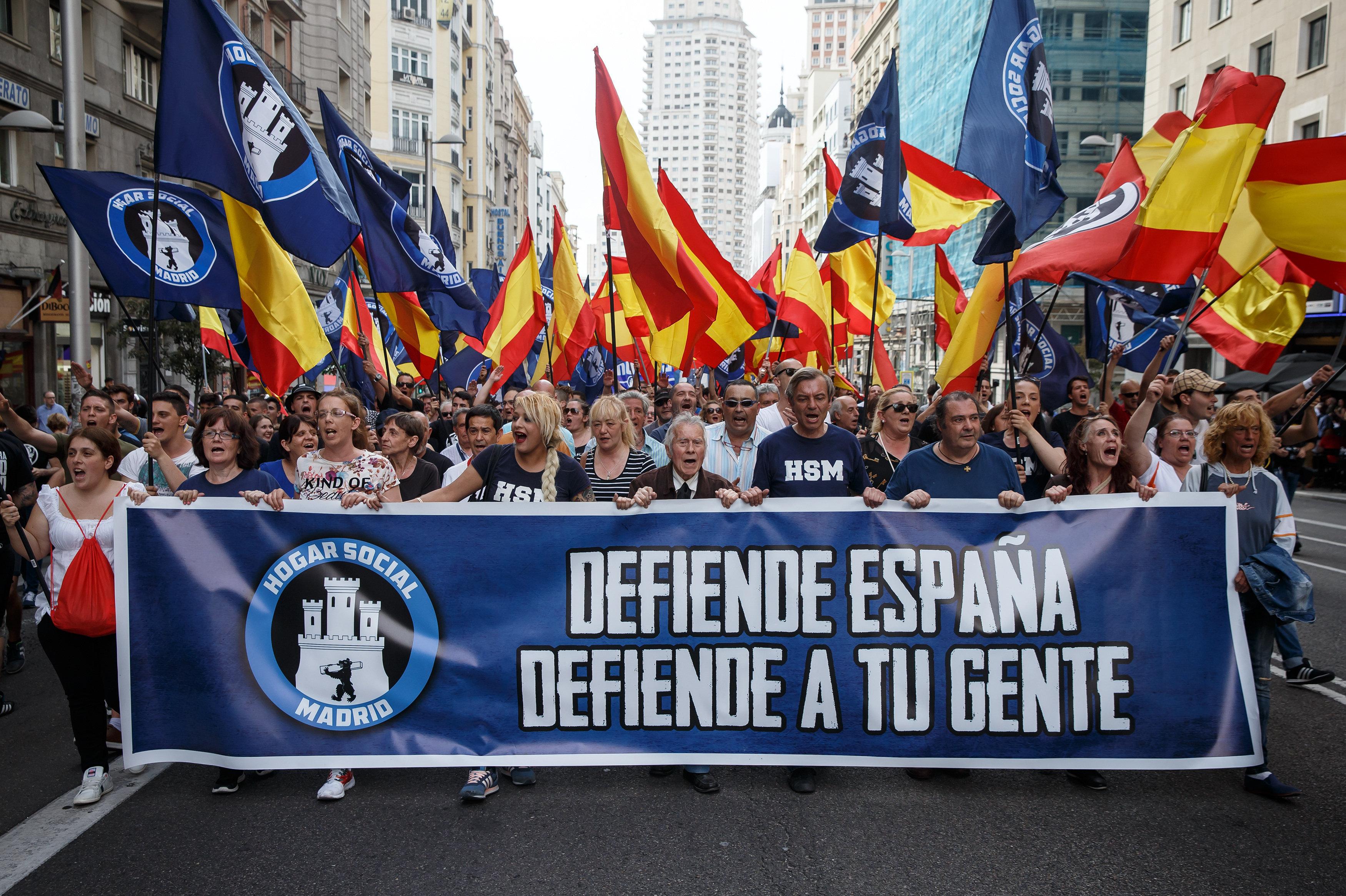 Manifestación de ultraderecha 'Hogar Social de Madrid'.