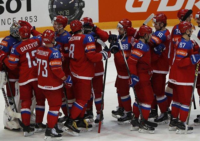 La selección rusa de hockey sobre hielo en el Mundial del 2016 (archivo)