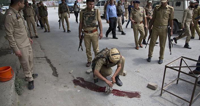 Lugar del ataque contra policías en Cachemira, India