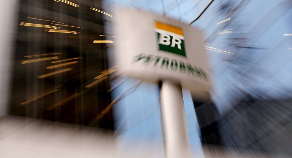 The Petrobras logo in front of the company's headquarters in Sao Paulo