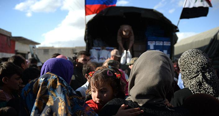Entrega de ayuda humanitaria en Kaukab