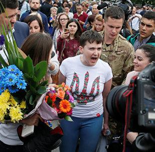 Nadezhda Sávchenko tras su liberación