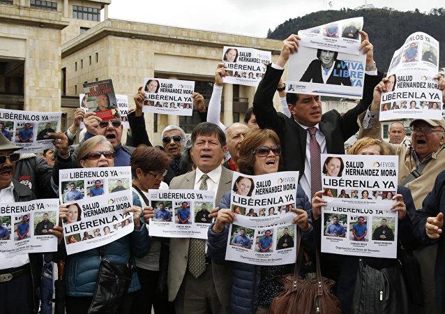 Demonstración en Bogotá para la liberación de la periodista española Salud Hernández Mora