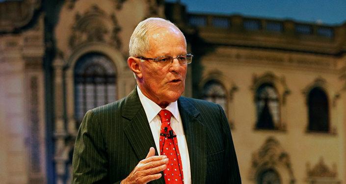 El candidato presidencial Pedro Pablo Kuzcynski, de Peruanos Por el Kambio (centroderecha)