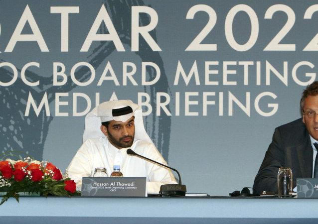 Presidente del Comité Organizador del Mundial Qatar-2022, Hassan Al Thawadi, y exscretario general de la FIFA, Jerome Valcke