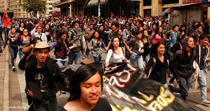 Plantón en Bogotá apoyando el paro Agrario y Popular en 2014