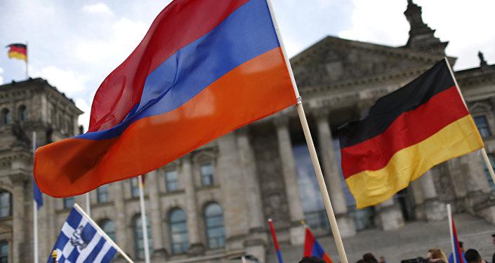 Las banderas de Alemania y Armenia