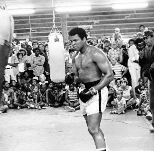 Muhammad Ali entrena para su segunda pelea con Leon Spinks. Nueva Orleans, Louisiana, 25 de agosto de 1978.