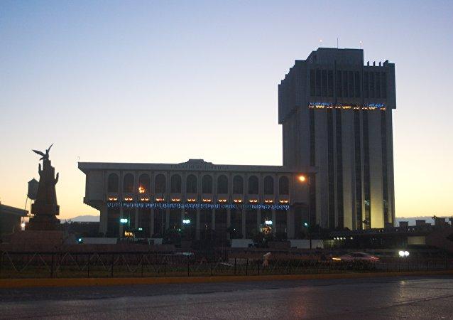 Palacio de la Justicia, Torre de Tribunales junto al monumento a la Paz, ciudad de Guatemala