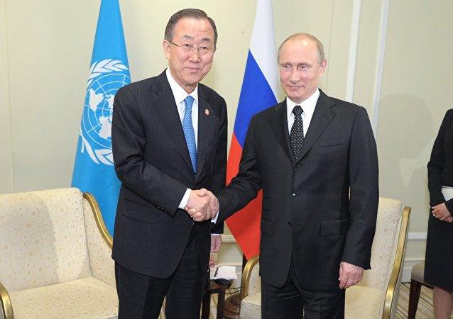 Vladímir Putin, presidente de Rusia, y Ban Ki-moon, secretario general de la ONU (archivo)