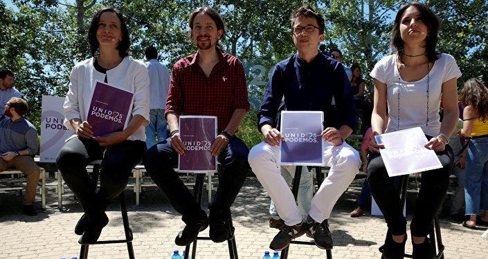 Carolina Bescansa, Pablo Iglesias, Íñigo Errejon y Irene Montero, miembros del partido político Podemos