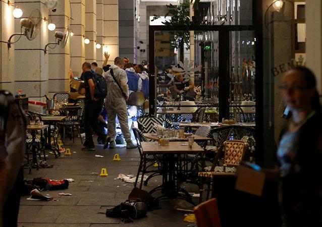 Lugar del atentado en la ciudad israelí de Tel Aviv
