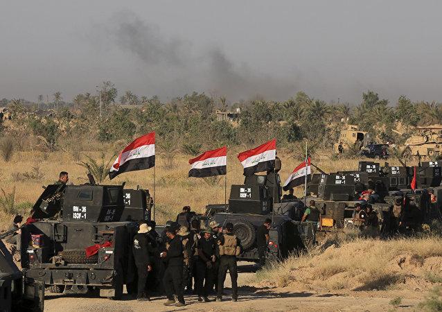 Militares iraquíes en Faluya