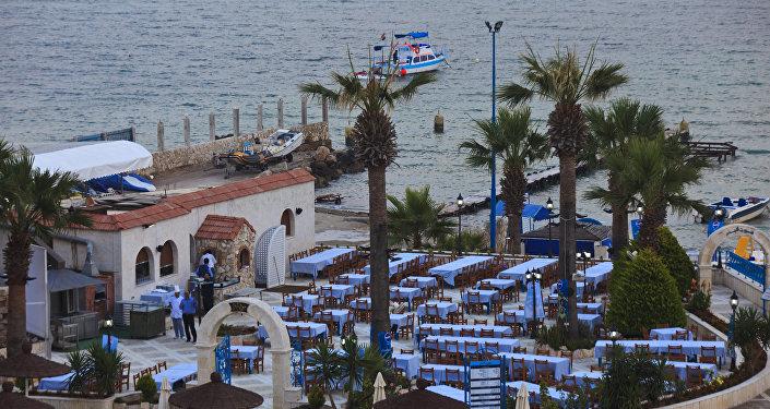 El hotel en la provincia siria de Latakia a orillas del mar Mediterráneo antes de la guerra
