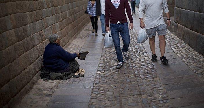 Una mendiga en Peru