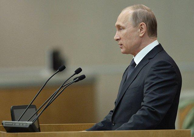 Vladímir Putin, presidente ruso, durante un discurso en la Cámara baja