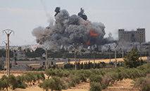 Las consecuencias de un ataque aéreo de EEUU en la provincia siria de Alepo (archivo)