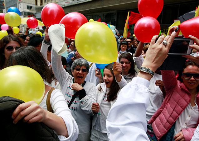Celebraciones de la firma del acuerdo de paz en Colombia