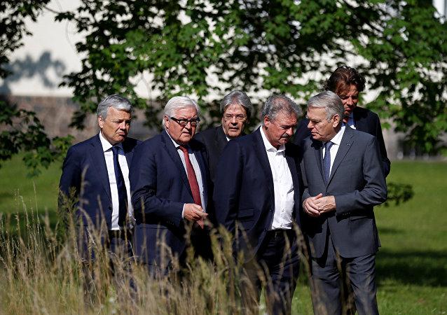 Ministros de Exteriores de los países fundadores de la UE durante una reunión sobre el Brexit en Berlín