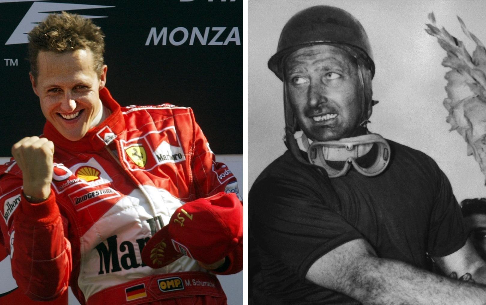 Michael Schumacher, piloto alemán de Formula 1, y Juan Manuel Fangio, mítico piloto argentino
