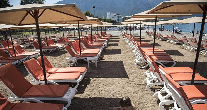 Playa en Kemer, Turquía