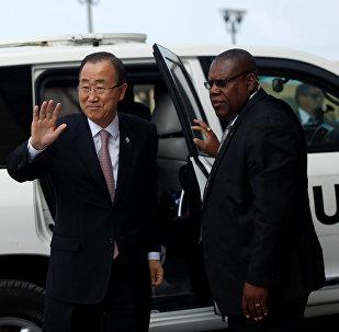 Ban Ki-moon, secretario general de la ONU, visita a la franja de Gaza