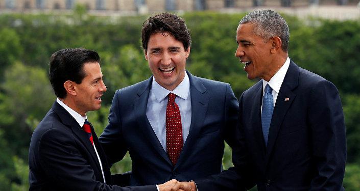Los presidentes Enrique Peña, de México, Barack Obama, de EEUU, y Justin Trudeau, el primer ministro de Canadá, comenzaron en Ottawa la octava Cumbre de Norteamérica