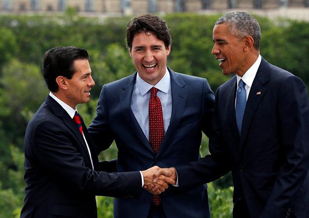 Los presidentes Enrique Peña, de México, Barack Obama, de EEUU, y Justin Trudeau, el primer ministro de Canadá