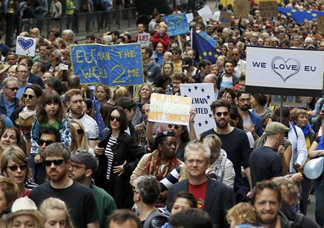 Una manifestación en apoyo de la Unión Europea