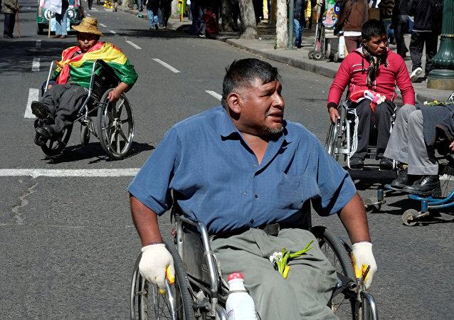 Protesta de discapacitados en La Paz, Bolivia
