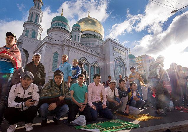 La celebración de la fiesta musulmana Eid al-Fitr en Moscú