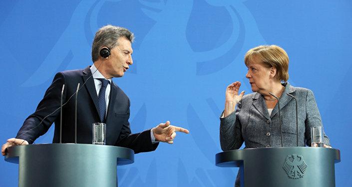Presidente argentino, Mauricio Macri y canciller alemana, Angela Merkel