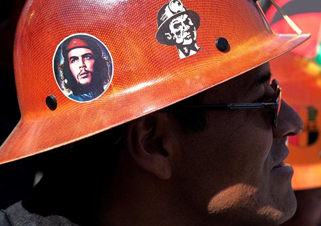 Miembro de la Central Obrera Boliviana (archivo)