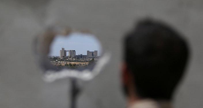 La vista a Manbij, Siria