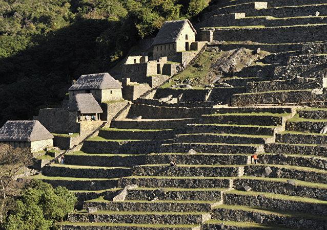 Antiguas construcciones residenciales en Machu Picchu.