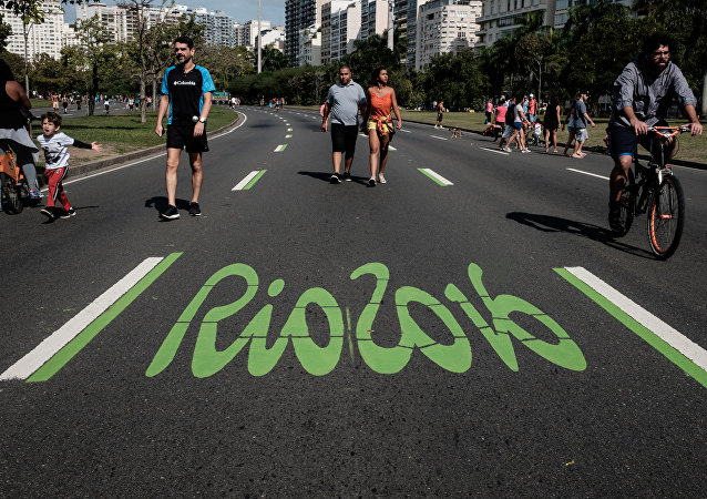 Un logo de los JJOO en Río de Janeiro, Brasil